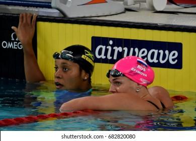 Hong Kong, China - Oct 30, 2016. ATKINSON Alia (JAM)  and Yulia YEFIMOVA (RUS) after the Women's Breaststroke 50m Final. FINA Swimming World Cup, Victoria Park Swimming Pool.