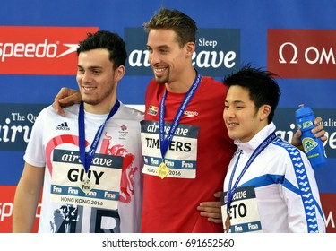Hong Kong, China - Oct 30, 2016. GUY James (GBR), TIMMERS Pieter (BEL) and SETO Daiya (JPN) at the Victory Ceremony of the Men's Freestyle 200m. FINA Swimming World Cup, Victoria Park Swimming Pool