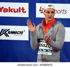 Hong Kong, China - Oct 30, 2016.  Katinka HOSSZU (HUN) at the Victory Ceremony of  the Women's Backstroke 100m. FINA Swimming World Cup, Victoria Park Swimming Pool.