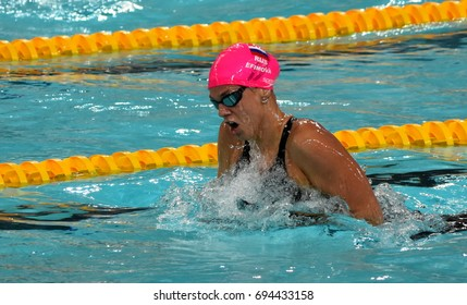 Hong Kong, China - Oct 30, 2016. Olympian and world champion swimmer Yulia YEFIMOVA (RUS) swimming in the Women's Breaststroke 200m Final. FINA Swimming World Cup, Victoria Park Swimming Pool.
