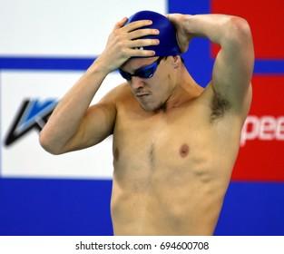 Hong Kong, China - Oct 30, 2016. Australian olympian, world champion and record holder Mitch LARKIN (AUS) before the Men's Backstroke 200m Final. FINA Swimming World Cup, Victoria Park Swimming Pool.