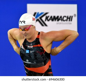 Hong Kong, China - Oct 30, 2016. OTTESEN Jeanette (DEN) at the start of Women's Butterfly 50m Final. FINA Swimming World Cup, Victoria Park Swimming Pool.