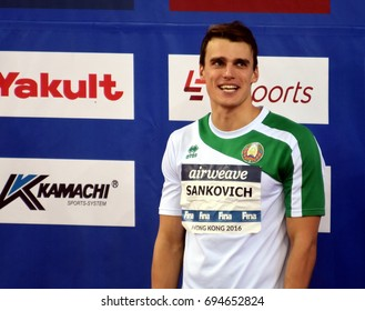 Hong Kong, China - Oct 30, 2016. SANKOVICH Pavel (BLR) at the Victory Ceremony of Men`s Backstroke 50m. FINA Swimming World Cup