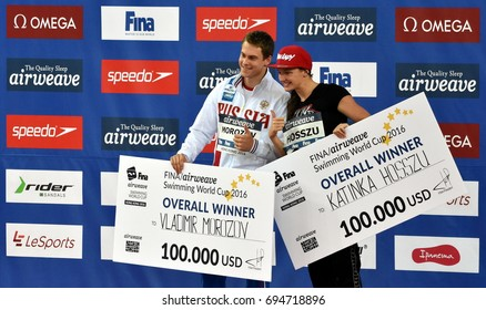 Hong Kong, China - Oct 30, 2016. Overall winners MOROZOV Vladimir (RUS) and Katinka HOSSZU (HUN) of the FINA Swimming World Cup in 2016.