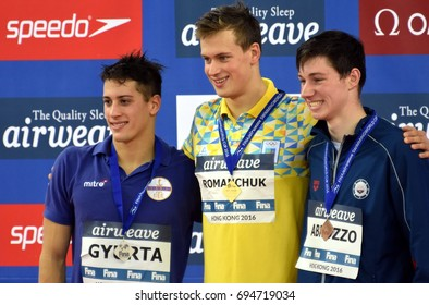 Hong Kong, China - Oct 30, 2016. Gergely GYURTA (HUN), ROMANCHUK Mykhailo (UKR) and ABRUZZO Andrew Joseph (USA) at the Victory Ceremony of  the Men's Freestyle 1500m. FINA Swimming World Cup.
