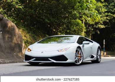 Hong Kong, China Oct 8, 2014 : Lamborghini Huracan LP610-4 2014 test drive on Oct 8 2014 in Hong Kong.