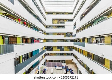Hong Kong, China - October 15, 2018: View of the Jockey Club Creative Art Centre in Hong Kong, China.
