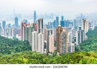 Hong Kong, China - October 19, 2018: Skyline of Hong Kong in China.