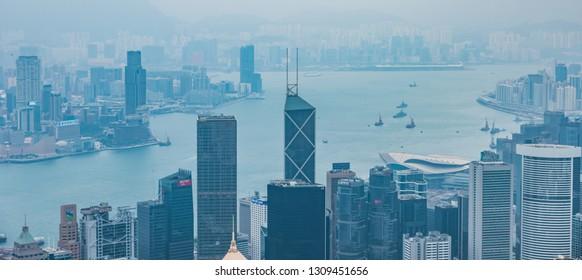 Hong Kong, China - October 19, 2018: Cityscape of Hong Kong in China.