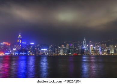 HONG KONG, CHINA - OCTOBER 2013: Skyline of Hong Kong