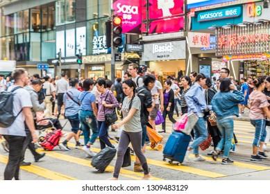 Hong Kong, China - October 22, 2018: Street view of the Nathan Road in Hong Kong, China.