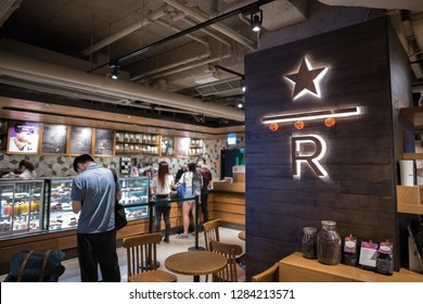 Hong Kong, China:  October 28, 2018:   Starbucks Reserve retail store in Hong Kong.  Starbucks is a multinational coffee retail store.