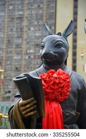 Hong Kong, China - October 3, 2015: Chinese Zodiac Bronze Rabbit Stature at Sik Sik Yuen Wong Tai Sin Temple