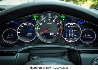 Hong Kong, China Sept 11, 2018 : Porsche Cayenne S 2018 Dashboard Sept 11 2018 in Hong Kong.