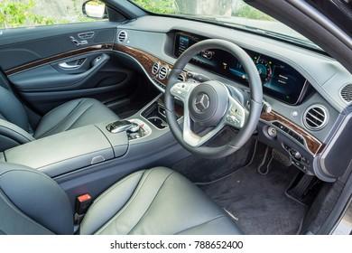 Hong Kong, China Sept 20, 2017 : Mercedes-Benz S 320 2017 Interior Sept 20 2017 in Hong Kong.