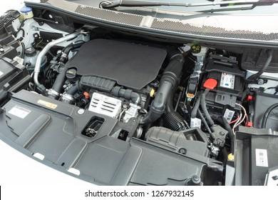Hong Kong, China Sept 28, 2018 : Peugeot 3008 2018 Engine Sept 28 2018 in Hong Kong.