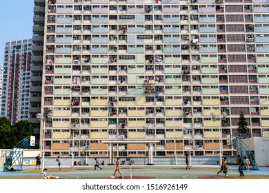 Hong Kong, China - Sept 28 2019: Choi Hung Estate in Wong Tai Sin, Kowloon. It is one of the oldest public housing in Hong Kong. Colorful paint made it a popular tourist photo spot.