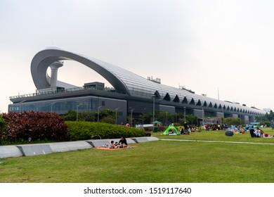 Hong Kong, China - Sept 29 2019: Kai Tak Cruise Terminal. It is at the former Kai Tak Airport runway at Hong Kong.