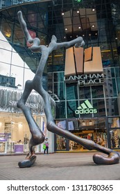 Hong Kong, China: September 13, 2018: Exterior of Langham Place, a mall, in Hong Kong. Langham Place was opened in 2004.