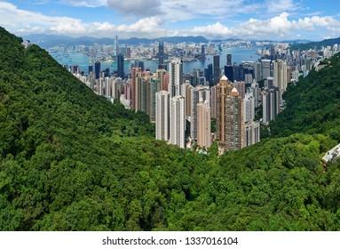 Hong Kong, China - September 2, 2018: Panoramic View from the Peak across the city centre of Hong Kong
