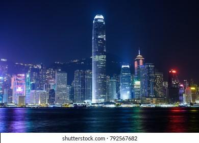 Hong Kong, China - September 2 2017: Colorful City View of Hong Kong