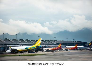 HONG KONG, CHINA - SEPTEMBER 3 : Airbus and plane on runway station waiting time for take off at Hong Kong International Airport on September 3, 2018 in Hong Kong, China