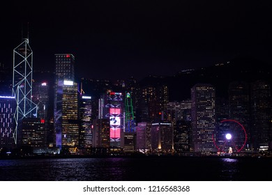 HONG KONG, CHINA - SEPTEMBER 5 : A Symphony of Lights is the spectacular light and sound show at Victoria Harbour in evening time for show travelers people on September 5, 2018 in Hong Kong, China