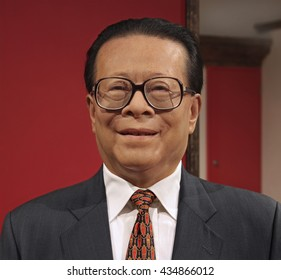 HONG KONG, CHINA - SEPTEMBER. 5, 2009: Jiang Zemin, former President of the People's Republic of China, wax statue is on display at Madame Tussauds Museum in Hong Kong.