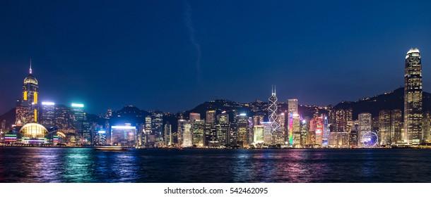 ? Hong Kong, China skyline panorama from across Victoria Harbor.