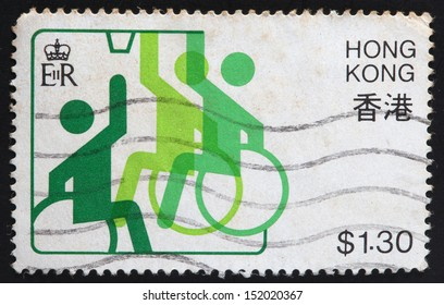 HONG KONG - CIRCA 1982: A stamp printed in Hong Kong shows Far East Games for Disabled sport, circa 1982