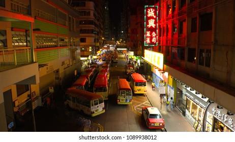HONG KONG - CIRCA APRIL 2018 : View of MINI BUS TERMINAL at MONG KOK area.