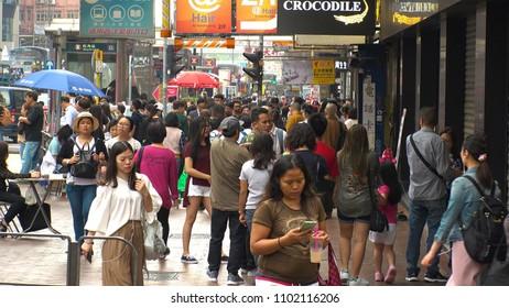 HONG KONG - CIRCA APRIL 2018 : Scenery of BUSY STREET around MONG KOK metro station.