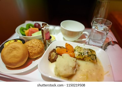 HONG KONG - CIRCA JUNE, 2015: meal in business class on Emirates Airbus A380-800.