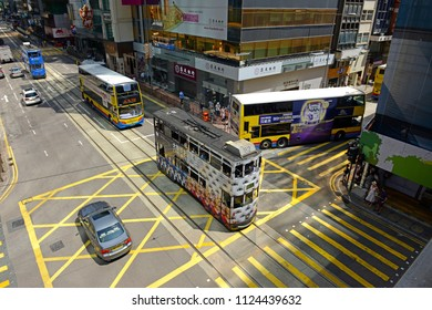 HONG KONG CIRCA JUNE 2018. As a global awareness of climate change increases, cities such as Hong Kong are increasingly using cleaner burning, hybrid or electric buses in city centers