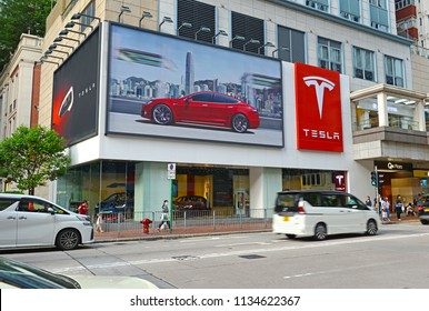 HONG KONG CIRCA JUNE 2018. Tesla Motors Models on display in Hong Kong, showcasing the technology and electric powertrain that sets the Tesla automobile design apart from many other manufactures.