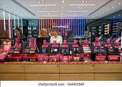 HONG KONG - CIRCA NOVEMBER, 2016: cosmetics for sale in Hong Kong. Hong Kong's cosmetics market is highly competitive and having no sales taxes.