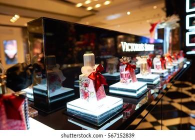 HONG KONG - CIRCA NOVEMBER, 2016: goods on display at Victoria's Secret store in Hong Kong.