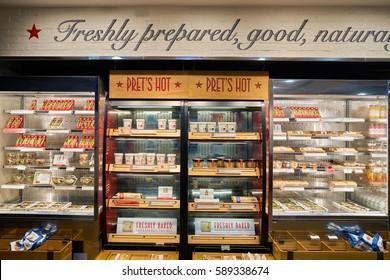 HONG KONG - CIRCA NOVEMBER, 2016: Pret a Manger in Hong Kong. Pret a Manger is a sandwich shop chain based in the United Kingdom.