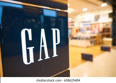 HONG KONG - CIRCA SEPTEMBER, 2016: close up shot of GAP sign in Hong Kong. GAP is an American worldwide clothing and accessories retailer.