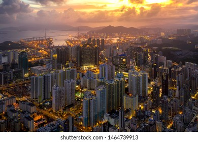 Hong Kong city Aerial view with Beautiful sunset