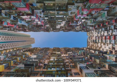 Hong Kong city apartment view form bottom, crowded residence area