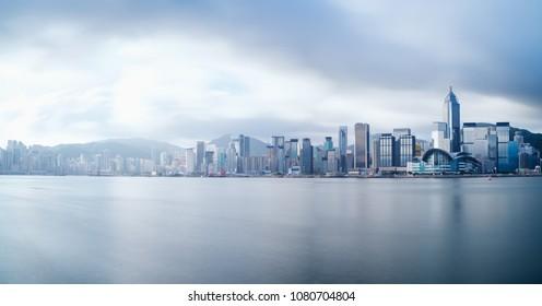 Hong Kong city, China skyline panorama from across Victoria Harbor.