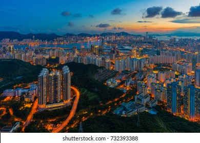 Hong Kong city, the cityscape and landscpae of metropolis at dusk. Urban scene modern, landscape architecture and outdoor environment concept.