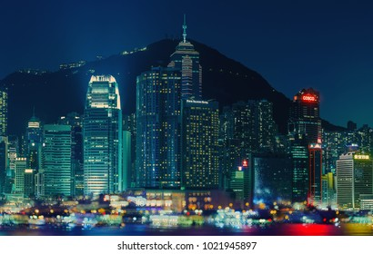 Hong Kong City at night , 13-Jan-2018, intentionally blurry decorative bokeh shot of the Victoria harbour.