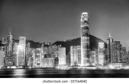 Hong Kong City at Night Light River View Concpet