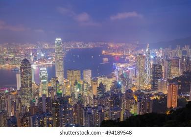 Hong Kong city at night, view from The Peak