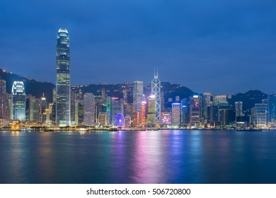 Hong Kong city sea front during twilight