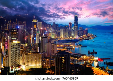 Hong Kong city skyline at Braemar hill a destination viewpoint to observe Victoria Harbour, Hong Kong