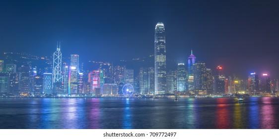 Hong Kong city skyline business district.