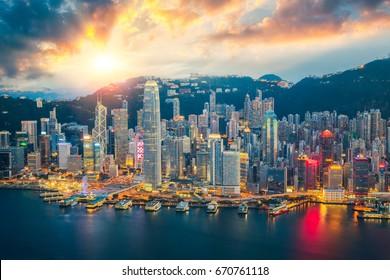 Hong kong city skyline the center of bissiness in Asia, Hongkong Night, Hongkong Sunset, island in China